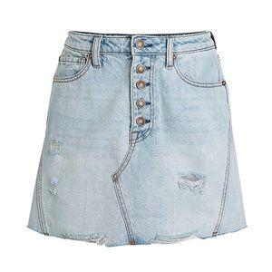 FREE PEOPLE Breezy Denim Mini Jean Skirt